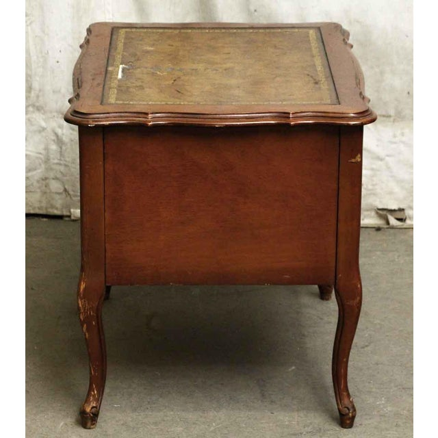 Brown Leather Top French Side Table For Sale - Image 8 of 9