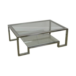 Chrome & Glass Large 2 Tier Milo Baughman Style Coffee Table For Sale