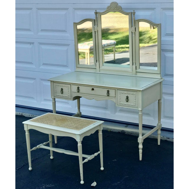 American 1930's Adams Style Vanity W/Mirror Cane Bench For Sale - Image 3 of 11