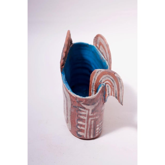 Crude Terracotta Catch-All / Vase With Applied Details Signed For Sale In New York - Image 6 of 13