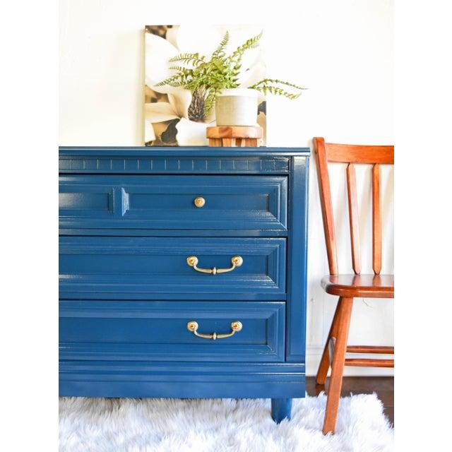 Modern Vintage Blue Glossy Dresser For Sale - Image 3 of 10