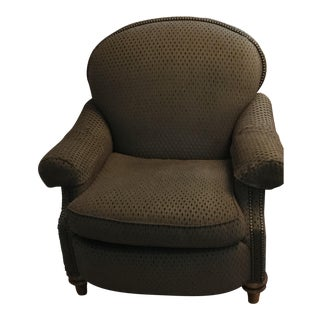 Henredon Brown Upholstered Club Chair For Sale