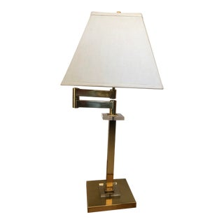 Vintage Brass Swing Arm Table Lamp Von Nessen Style With Shade For Sale