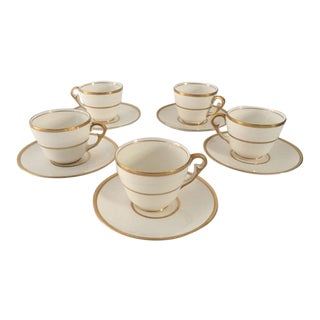 Vintage Demitasse Gold & Ivory Cups and Saucers - Set of 5 For Sale