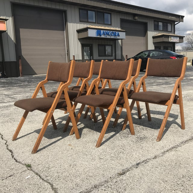 Set of 6 Vintage Mid Century Modern Folding Chairs #8200 by Sauder Designare. The chairs are very sturdy and solid. Great...