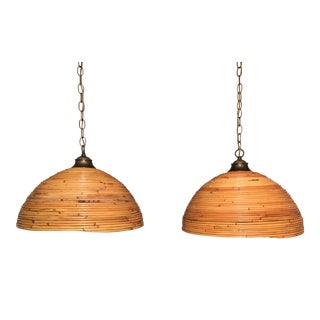 Pair of Split Reed Hanging Lamps Gabriella Crespi Style