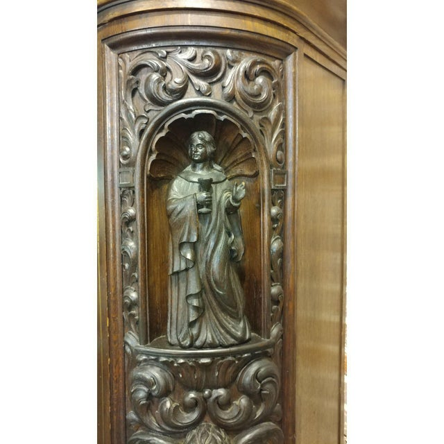 18th Century Carved French Gothic Oak Cabinet with Santos & Angels Figures For Sale - Image 5 of 9