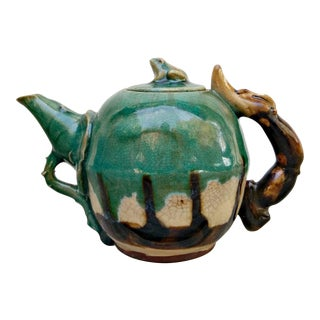 Handmade Pottery Frog Teapot For Sale