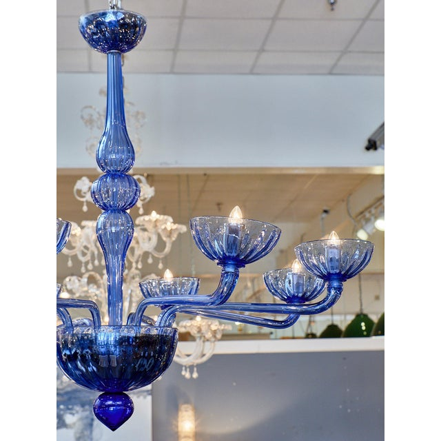 Blue Murano Glass Chandelier For Sale - Image 9 of 10
