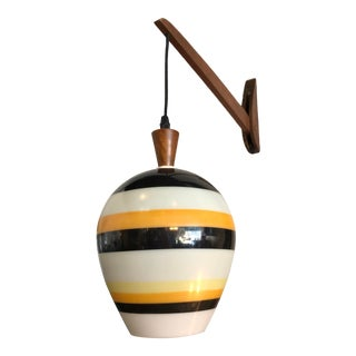 Mid-Century 1950s Teak Striped Sconce For Sale