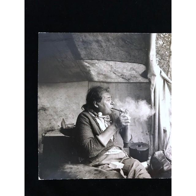 """Vintage 1966 """"Canadian Cree Woman Lights Her Pipe"""" Photograph by Paul S. Conklin For Sale - Image 4 of 11"""