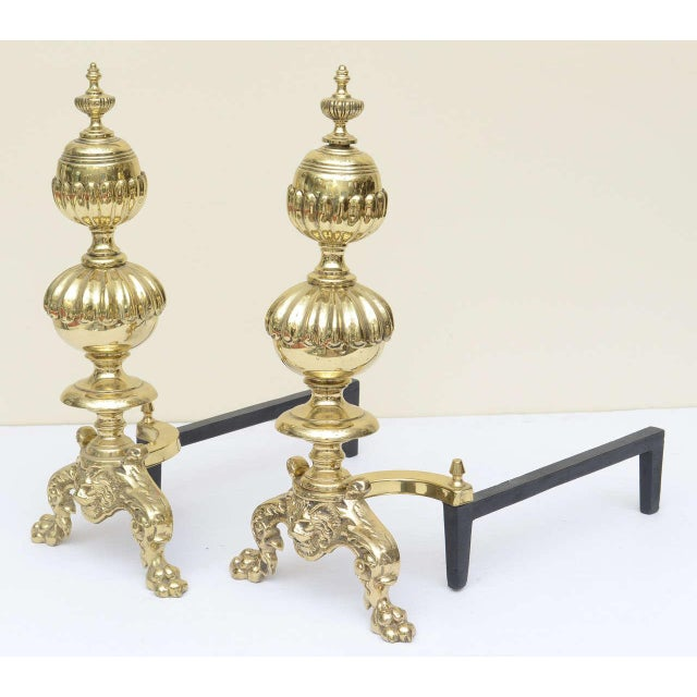 Large Georgian Style Andirons - a Pair For Sale In Miami - Image 6 of 10