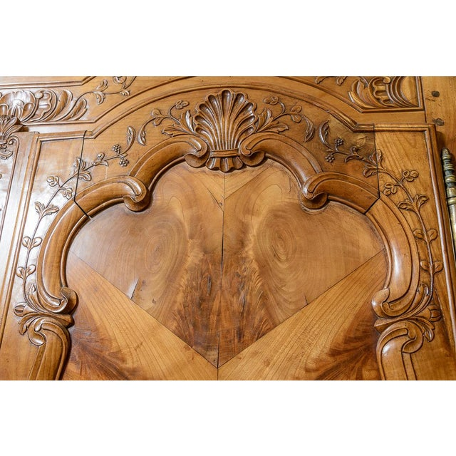Mid 18th Century French Cherry Double Dome Armoire For Sale - Image 4 of 8