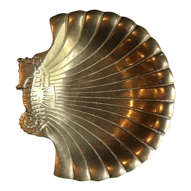 1980s Hollywood Regency Brass Seashell & Seahorse Catchall Dish For Sale