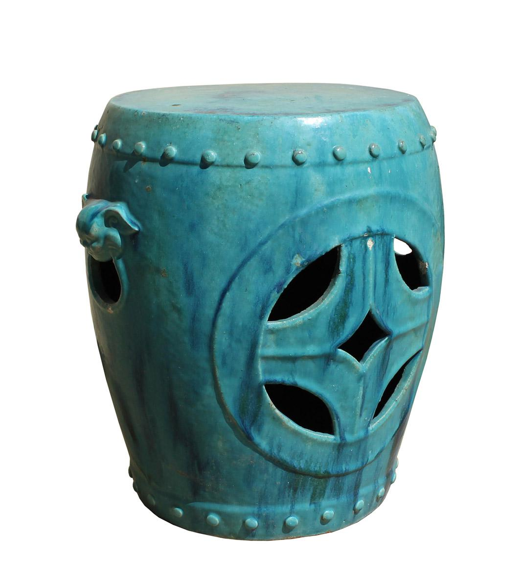 Merveilleux Chinese Distressed Turquoise Green Round Clay Ceramic Garden Stool Cs2842  For Sale   Image 5 Of