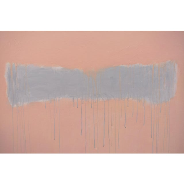 """Pink """"Peachy"""" Large Contemporary Abstract Triptych Painting by Stephen Remick For Sale - Image 8 of 12"""