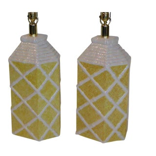 1960s Palm Beach Style Faux Cane Bamboo Table Lamps - a Pair For Sale