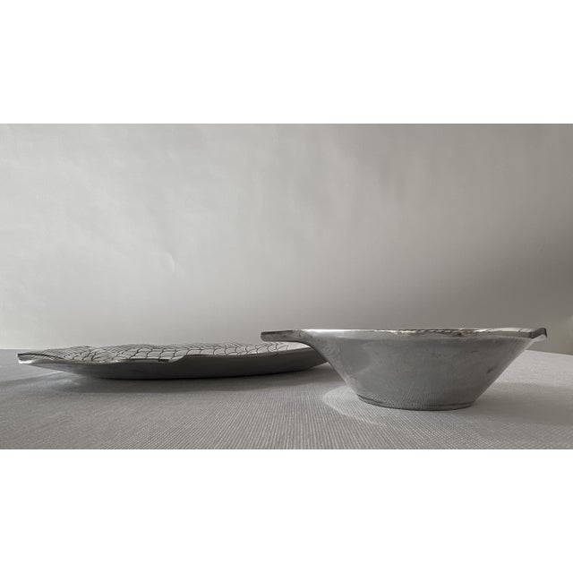 Nautical Pewter Fish Platter and Bowl Set - Set of 2 For Sale - Image 3 of 10
