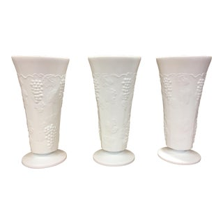 Indiana White Glass Vases - Set of 3 For Sale