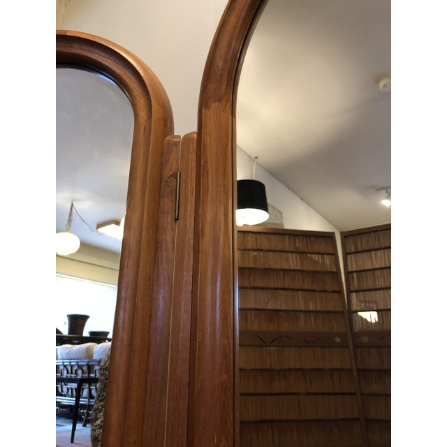 Late 20th Century Pedersen & Hansen Folding Arched Teak 3 Part Mirror, Made in Denmark For Sale - Image 5 of 13