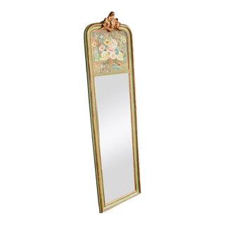 Petite Floral Banquet Painted Trumeau Mirror For Sale
