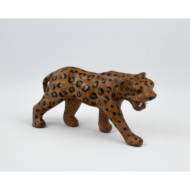 Vintage Hand Painted Leather Leopard Figure For Sale - Image 10 of 13