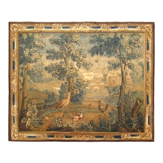 Antique 18th Century Flemish Landscape Verdure Tapestry With Birds in the Woods For Sale