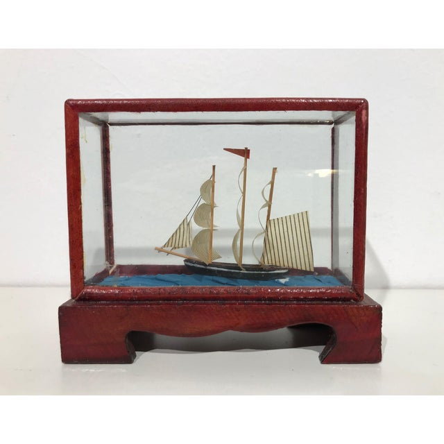 Miniature Model Sailing Ship in Wood & Glass Case - Image 5 of 11