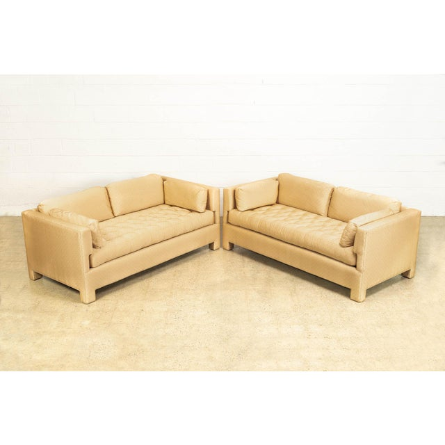 Mid Century Probber or Wormley Style Tan Upholstered Sofa Couches - a Pair For Sale In Detroit - Image 6 of 10