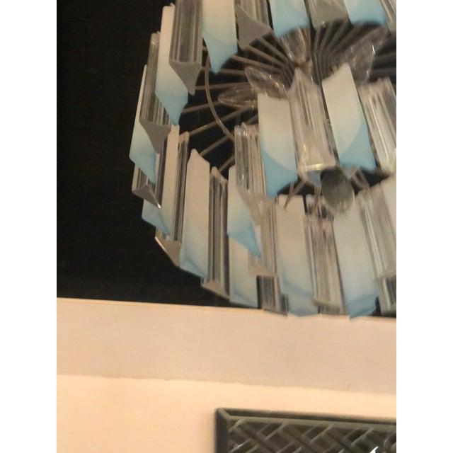 Vintage Hollywood Regency Aqua Blue Lucite Chandelier For Sale In West Palm - Image 6 of 11