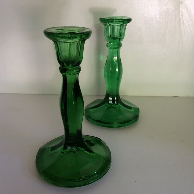 American Classical Vintage Green Crystal Candle Sticks by Fostoria For Sale - Image 3 of 11