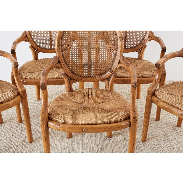 William Switzer Faux Bois Cane and Rush Seat Armchairs For Sale - Image 4 of 13