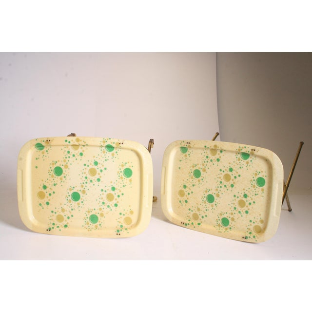 Mid Century Modern Yellow & Green TV Tray Tables - Set of 4 - Image 9 of 11