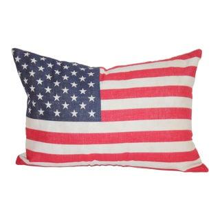 50 Star Flag Linen Pillow W/White Linen Backing For Sale