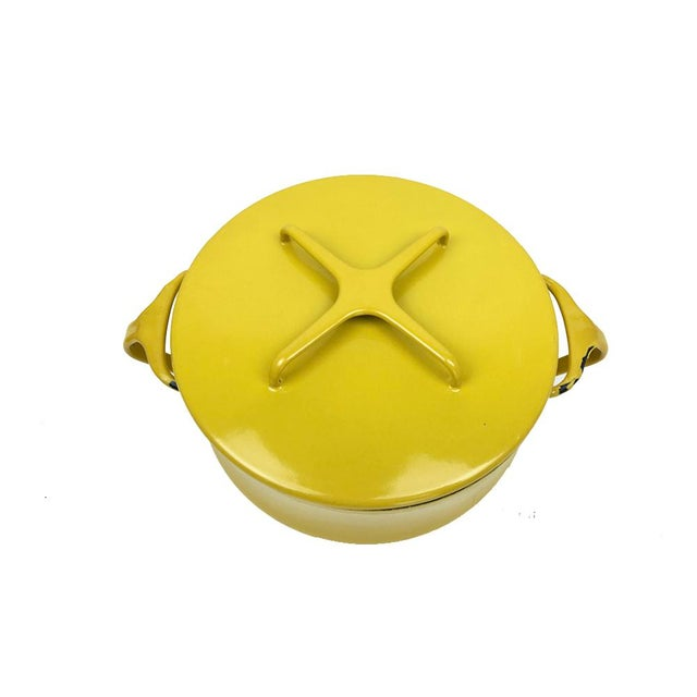 Vintage Modern Kobenstyle Dansk Yellow Enamel Pot - Image 5 of 5