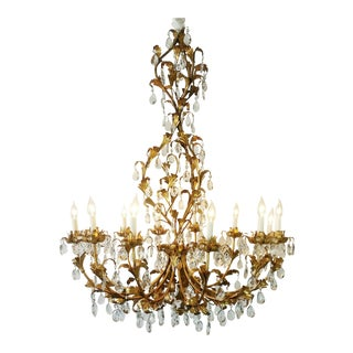 1950s Baroque Gold Leaf Tole 12-Light Candelier