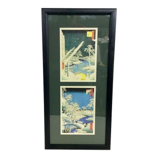 Mid 19th Century Antique Framed Japanese Woodblock Prints For Sale
