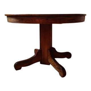 Rustic Tiger Oak (Quarter Sawn) Dining Pedestal Table For Sale