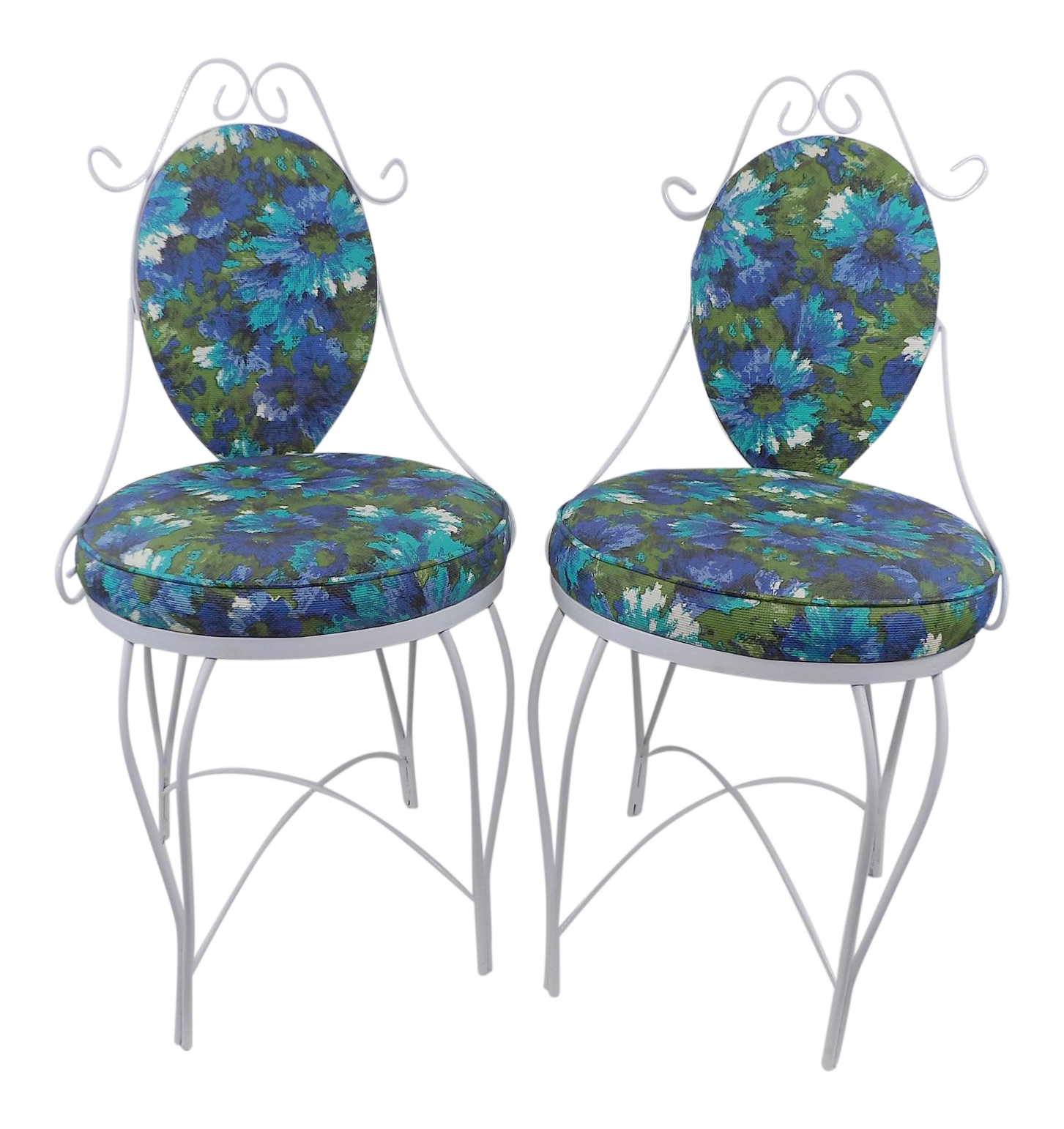 Mid Century Modern Wrought Iron Patio Chairs A Pair