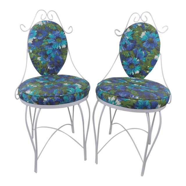 Mid-Century Modern Wrought Iron Patio Chairs - A Pair - Image 1 of 10