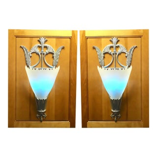 Mid 20th Century Art Deco Movie Theater Wall Light Sconces Mounted on Wood Panels - a Pair For Sale