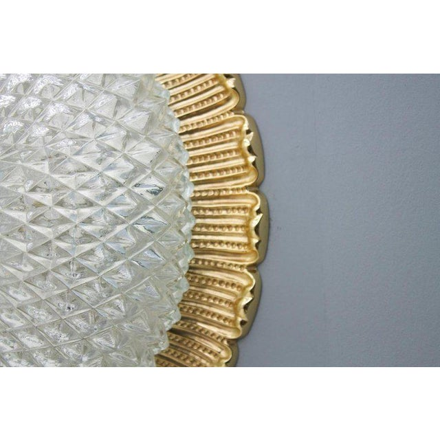One of Four Limburg Wall Sconces With Textured Glass and Gilded Brass, 1970s For Sale - Image 6 of 9