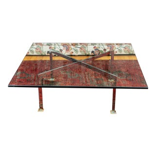 Mid Century Barcelona Style Chrome Steel Cocktail Table With Massive Glass Top For Sale