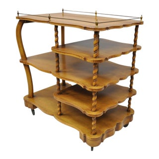 French Neoclassical Style Walnut Spiral Twist Bar Tea Cart For Sale