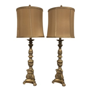 Vintage Antique Style Buffet Table Lamp With Shades - a Pair For Sale