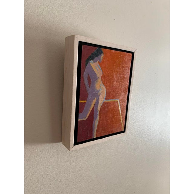 Contemporary Contemporary Minimalist Figurative Orange Oil Painting, Framed For Sale - Image 3 of 4