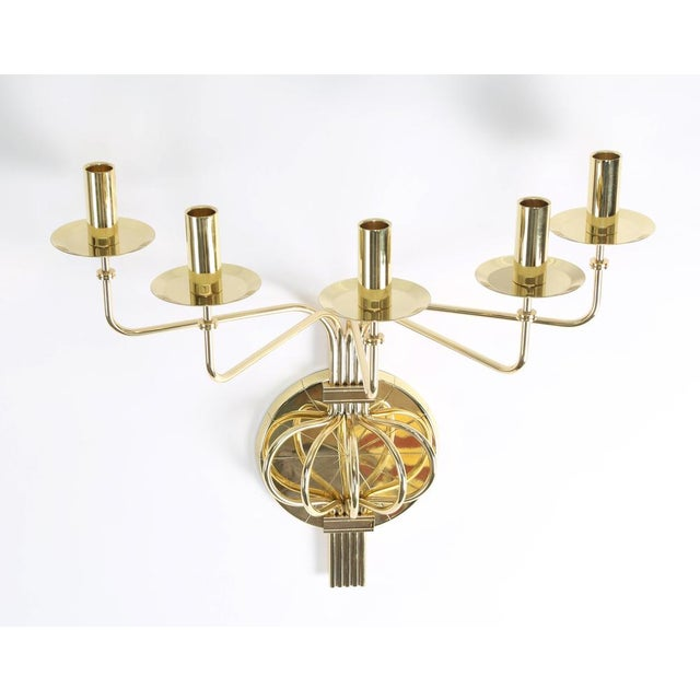 Metal 1950's vintage TOMMI PARZINGER BRASS WALL CANDELABRA- a pair For Sale - Image 7 of 9