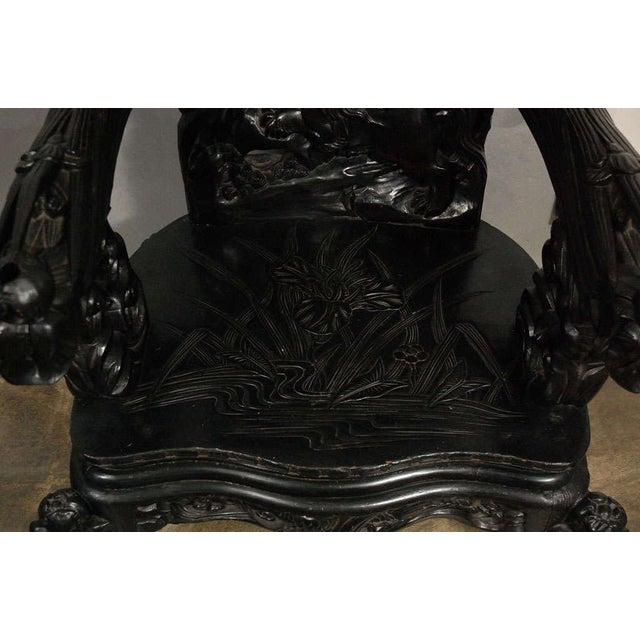 Bone Chinese Arm Chair with Carved Foo Dogs, Fish and Flora For Sale - Image 7 of 7