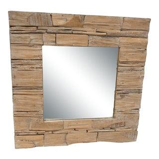 Natural Wooden Framed Mirror For Sale