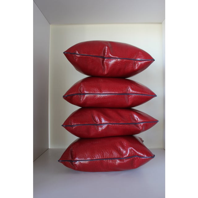 Contemporary Robert Allen Duralee Group Red Faux Alligator Leather Pillows With Contrast Welting - Set of 4 For Sale - Image 3 of 4